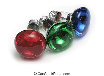 RGB Bulbs - Red, green and blue colored reflector bulbs
