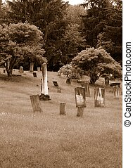 Old cemetary in sepia tone with copy space