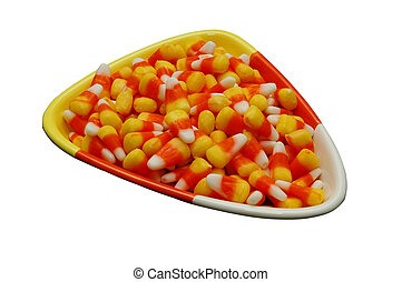 Candy Corn 2 - Bowl of candy corn Generic brand Isolated...