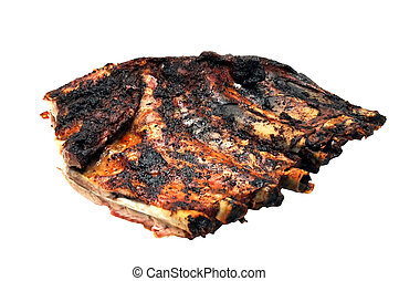 Rack of Ribs - Half rack of ribs. Isolated image with...
