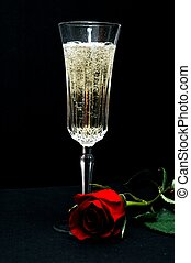 Champagne and Rose - Crystal champagne glass with bubbly...