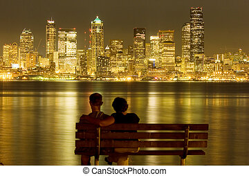 Dream - View of nighttime Seattle across Puget Sound