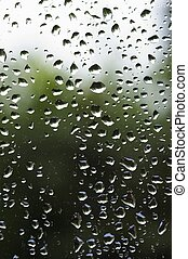 raindrops 12 - raindrops at a window - green background