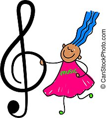 music kid - little girl holding treble clef - toddler art...