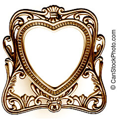 Vintage frame - Antique heart shaped photo frame bronze