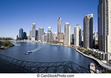 transbordador, Brisbane, río, contorno