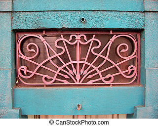pink grate wrought - a constrasting wrought-iron in a nice...