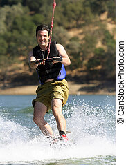 Wakeboarding - Man Wakeboarding on the lake