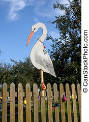 Annoncement:we have baby - Stork figure on the fence is an...