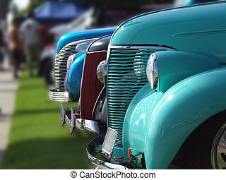 lineup - cars lined up at a vintage car show