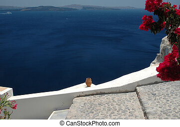 ceramic vase over sea santorini - ceramic vase over the sea...