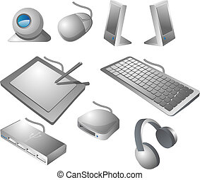 Computer peripherals: webcame, mouse, speakers, pen tablet,...