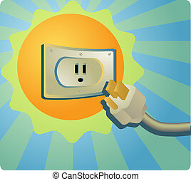 Solar energy: the sun with an electrical outlet illustration...