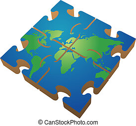 Jigsaw map - Jigsaw of the world; 3d isomtric illustration