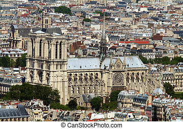 Notre dame de paris cathedral aerial view