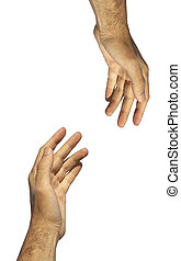Help (hands concept) - isolated hands of the man on the...