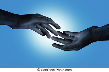 blue love - hands of the man as concept for gay love and...