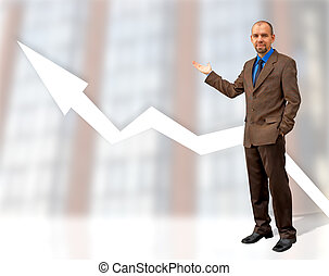 business growth - happy businessman showing graphspecial...