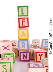 Learning blocks - Children\\\'s colored blocks spelling the...