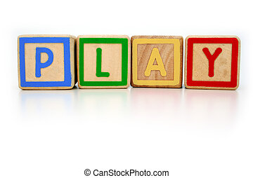 Playtime - Isolated childrens building blocks spelling play...
