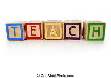 Teach me - Isolated childrens building blocks spelling the...