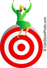 reaching the target - happy business executive sitting on...