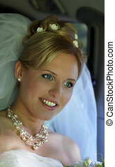 Happy Bride - Beautiful smiles of the bride of the blonde...
