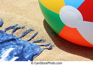 Beach Close Up - Beach with ball and sarong