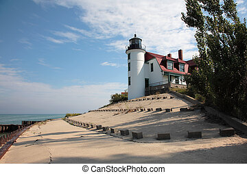 Lighthouse - Point Betsie Lighthouse and Breakwater, Lake...