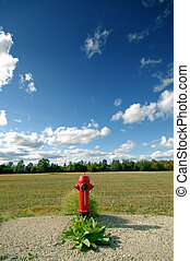 Fire Hydrant - fire hydrant by a field