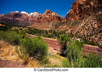Mountain road in Zion National Park - Mountain in Zion...