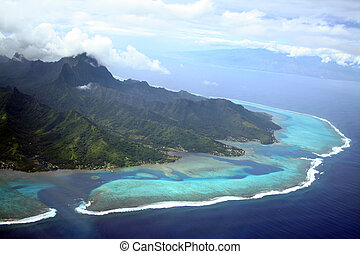 Moorea Island - Moorea and Tahiti Islands in South Pacific,...