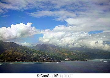 Tahiti Island aerial view, French Polynesia