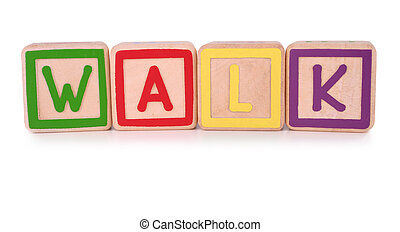 Walk blocks - Isolated childrens building blocks spelling...