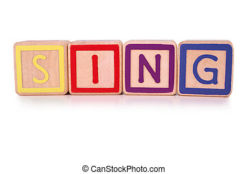 Sing blocks - Isolated childrens building blocks spelling...
