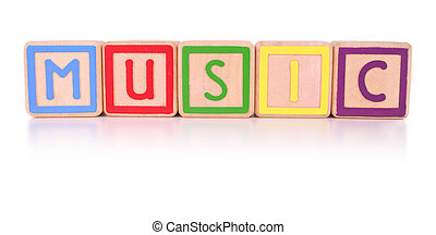 Music blocks - Isolated colorful childrens blocks spelling...