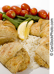 stuffed fillet of sole - baked sole fish stuffed with real...