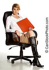 oficina, dama, silla