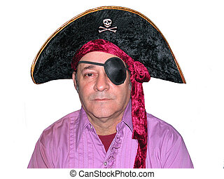 Pirate - Man in a Pirate hat with an eye patch,over white