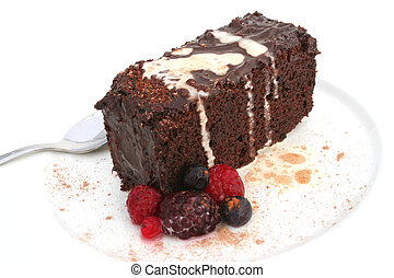 Isolated chocolate c - Isolated slice of chocolate cake on a...