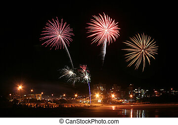 Fireworks #1 - A series of fireworks exploding over the...
