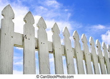 White Picket Fence - Peaceful artistic shot of an old white...