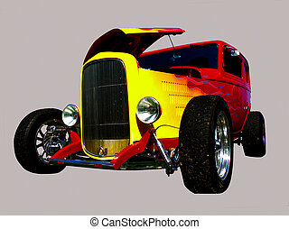 flamed hot-rod with hood open - red roadster