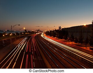 Routine - Lisbon\\\'s India and Brasilia avenue at dusk. I...