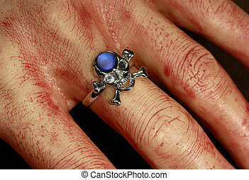 Bloody Hand - Photo of a Bloody Hand With a Skeleton Ring -...
