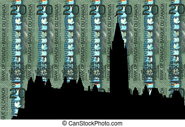 Canadian Parliament against 20 dollar note