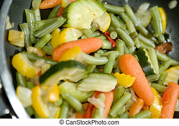 summer vegetables with cracked pepper seasoning