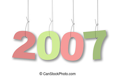 2007pastels - year 2007 illustration in hanging pastel...