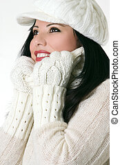 Beautiful woman in winter clothes - Smiling woman wearing...
