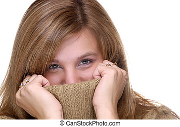 Surprise - Attractive Young Woman Hiding In A Turtle Neck...